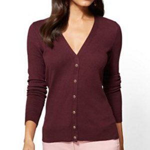 NWT Maroon Burgundy Jewel Button Cardigan